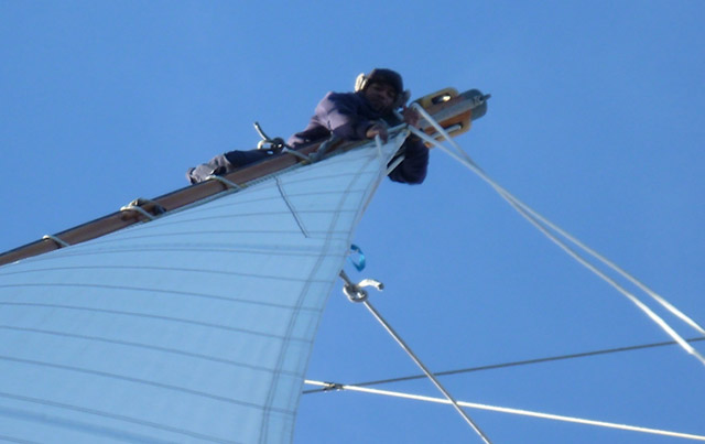 Brian re-leading the main topsail sheet