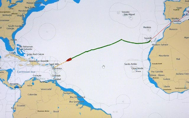 A map tracking the progress of the Shenandoah during the Superyacht Trans-Atlantic Race in 2012