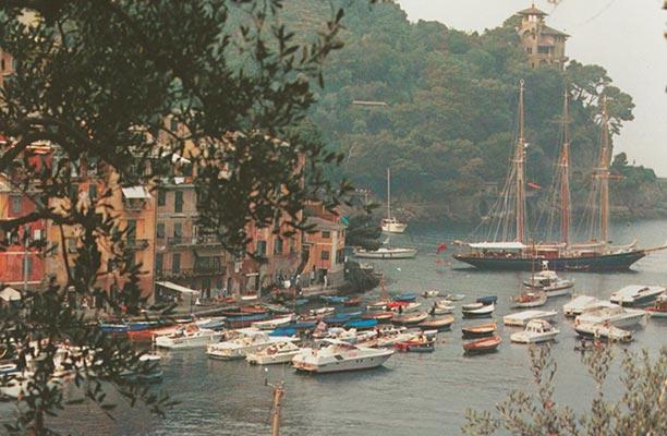Shenandoah anchored off the glamorous Italian resort of Portofino
